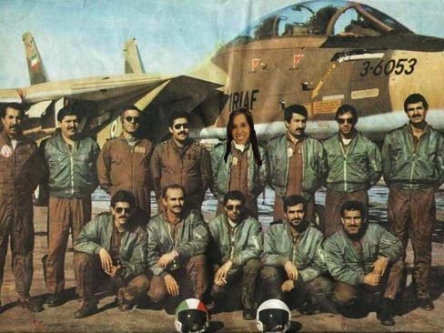 Members of the Islamic Republic of Iran Air Force F-14 squadron that engaged the Israeli attack force on the first day of the war. The pilot responsible for downing an Israeli aircraft can be seen in the back row, centre.