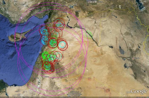 Syrian SAM defences, in 2010, with S-200 (SA-5) ranges shown in purple. Source: Sean O'Conner, Strategic SAM Deployment in Syria (click picture for link).