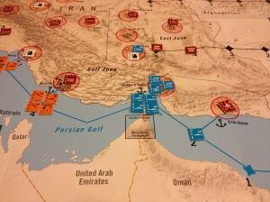 US Marines and a NEST team seize Bandar Abbas and the secret WMD facility there. By this time, most targets in southern Iran have been destroyed by Coalition airpower. However, the 5th Fleet is reluctant to press further into the elf due to the threat of Iranian mines, missiles, and small boat swarms.