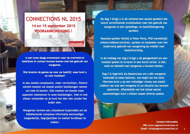 VOORAANKONDIGING - CONNECTIONS NL 2015