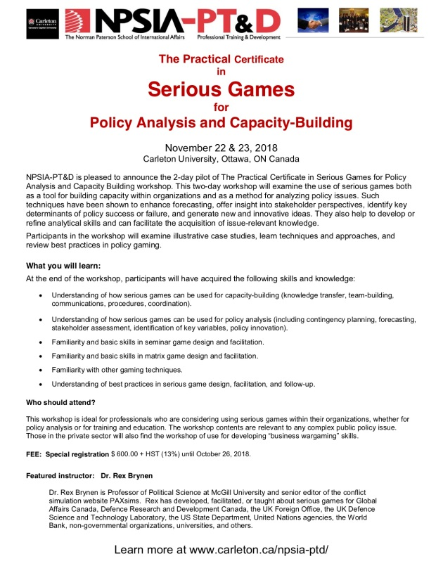 Notice - NPSIA-PT&D's Practical Certificate in Serious Games for Policy Analysis and Capacity-Building workshop - Nov 2018