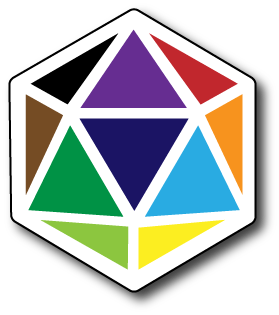 Derby House Principles icon: a D20 dice, facets in many different colours