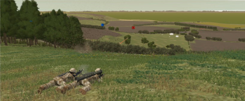 Two British soldiers in a firing position overlooking Red forces in the next field.